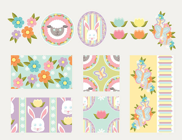 Spring Elements and Patterns vector art illustration