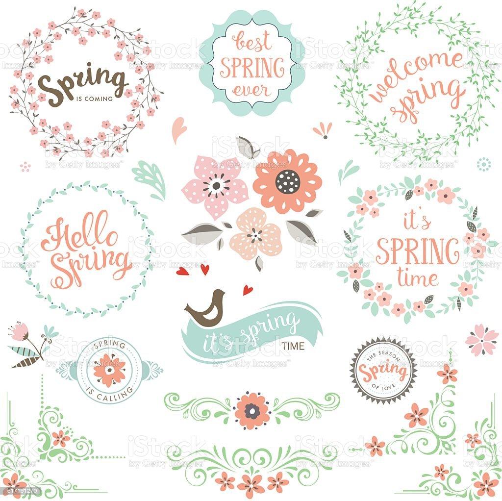 Spring Elements Set vector art illustration