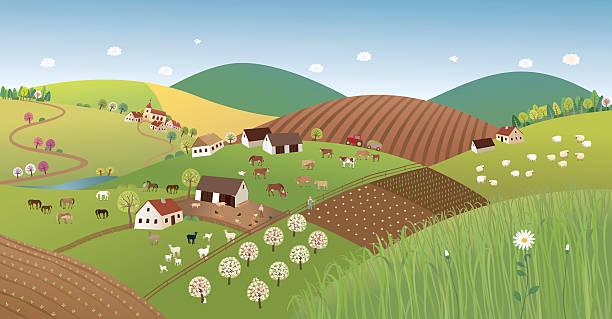 春の農家の景観 - 森林 俯瞰点のイラスト素材/クリップアート素材/マンガ素材/アイコン素材