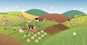 Spring farmer landscape