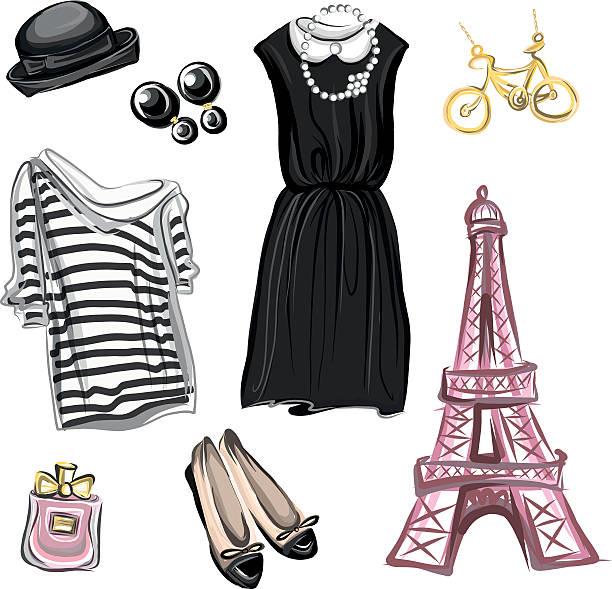 春にパリのファッションスタイル - パリのファッション点のイラスト素材/クリップアート素材/マンガ素材/アイコン素材