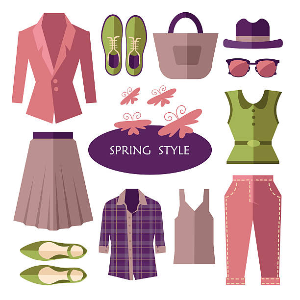spring fashion style set - spring fashion stock illustrations, clip art, cartoons, & icons