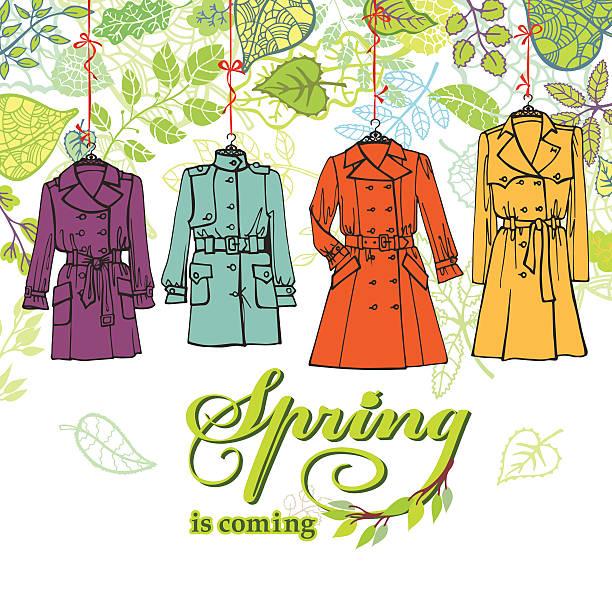 spring  fashion .woman coats set.leaves decor - spring fashion stock illustrations, clip art, cartoons, & icons