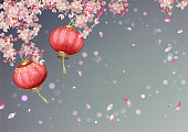 Traditional spring festival background with flying petals and silk lanterns. Flowers and petals in the wind. Chinese New Year background