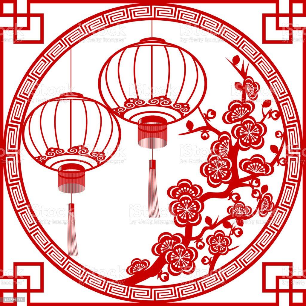 Spring Festival Lantern Paper-cut Art Frame royalty-free stock vector art
