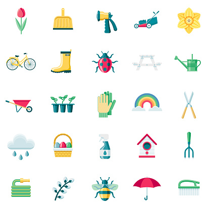 Spring Flat Design Icon Set