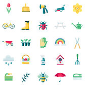 A set of 25 spring flat design icons on a transparent background. File is built in the CMYK color space for optimal printing. Color swatches are Global for quick and easy color changes.
