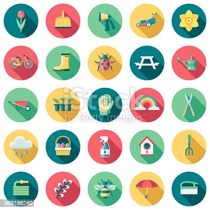 A set of flat design styled spring icons with a long side shadow. Color swatches are global so it's easy to edit and change the colors.