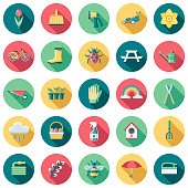Spring Flat Design Icon Set with Side Shadow