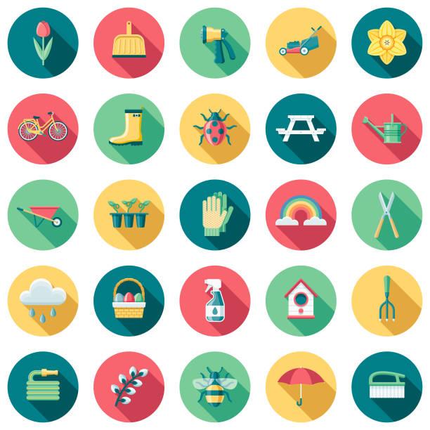 frühling flaches design-icon-set mit seite schatten - flat design symbole stock-grafiken, -clipart, -cartoons und -symbole