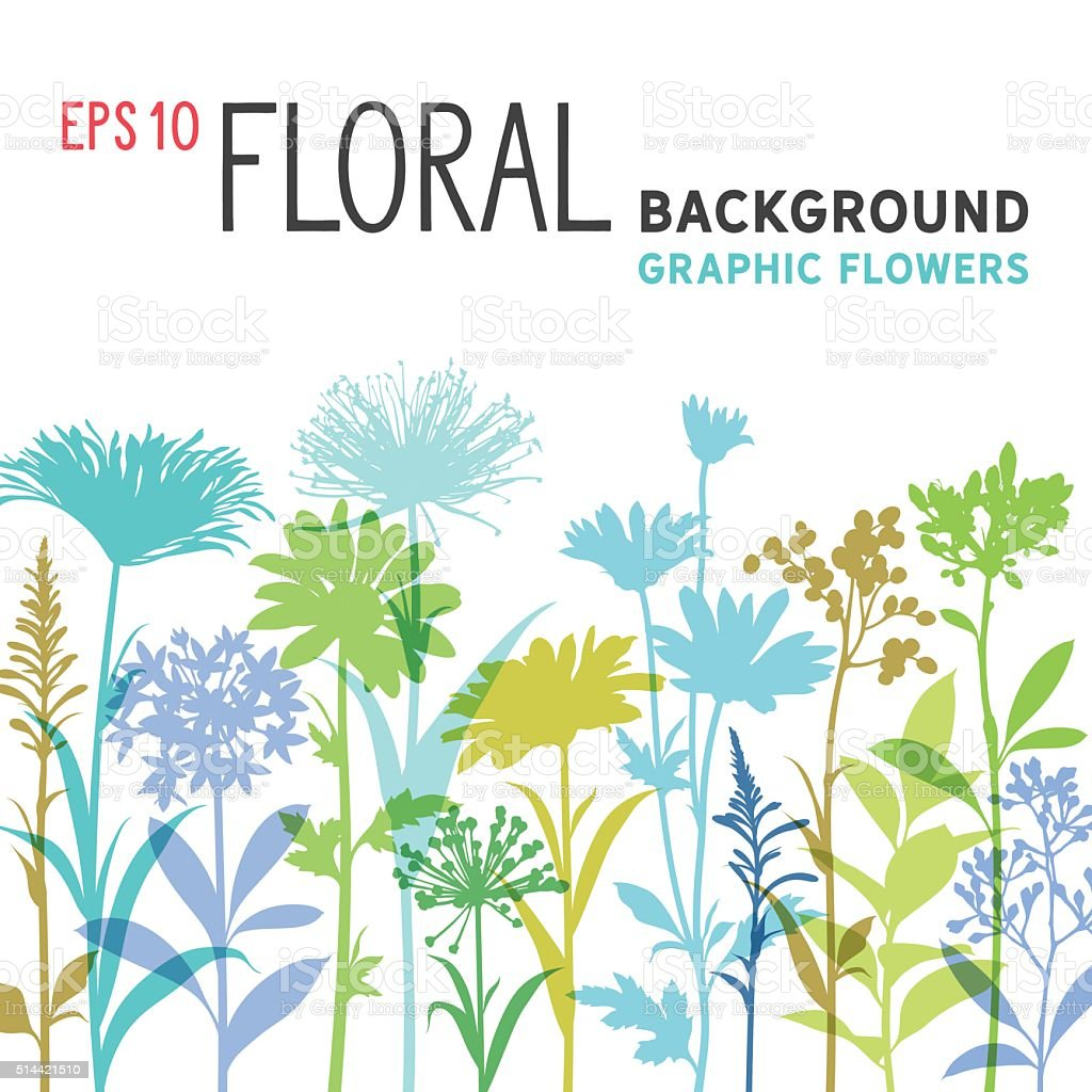 Spring Floral Background and Border with Wildflowers, Branches and Stemsvectorkunst illustratie