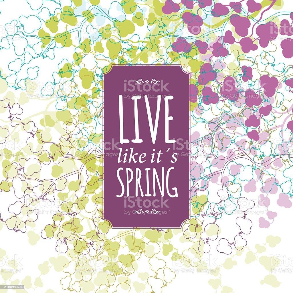 Spring floral background banner text vector art illustration