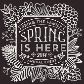 Chalkboard style Spring illustration.  Colors are global.  Download includes zipped AI CS4 file with editable text.