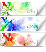Spring Tender floral backgrounds set.
