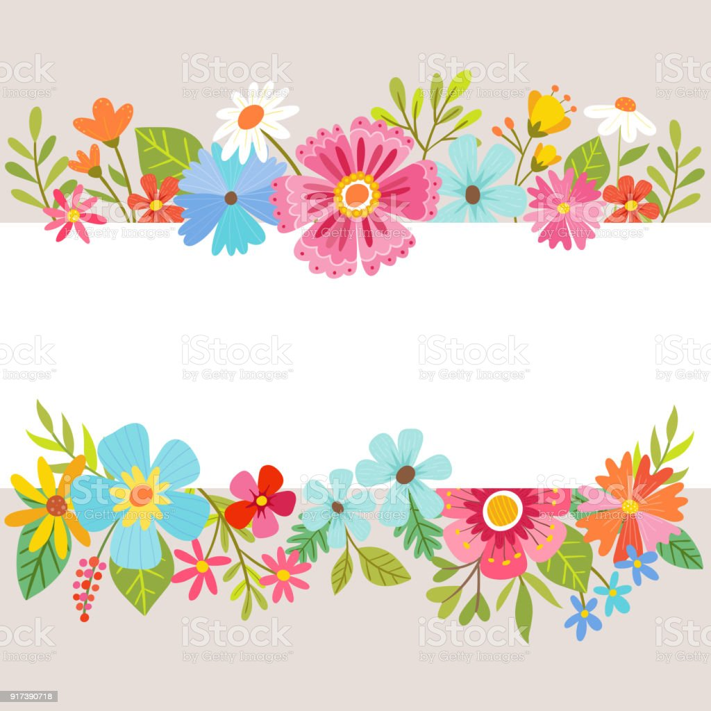 Spring Floral Background With Cartoon Flowers Stock Vector Art