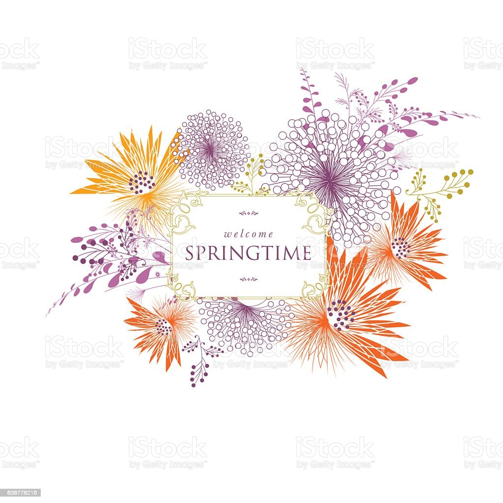 Spring floral bouquet banner text vector vector art illustration