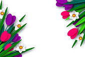 Spring floral composition. Empty template for greetings or seasonal sales. Paper cut spring flowers narcissus and tulps on white background. Copy space. Vector.