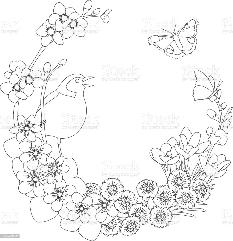 Spring floral elegant wreath coloring page - Royalty-free Art stock vector