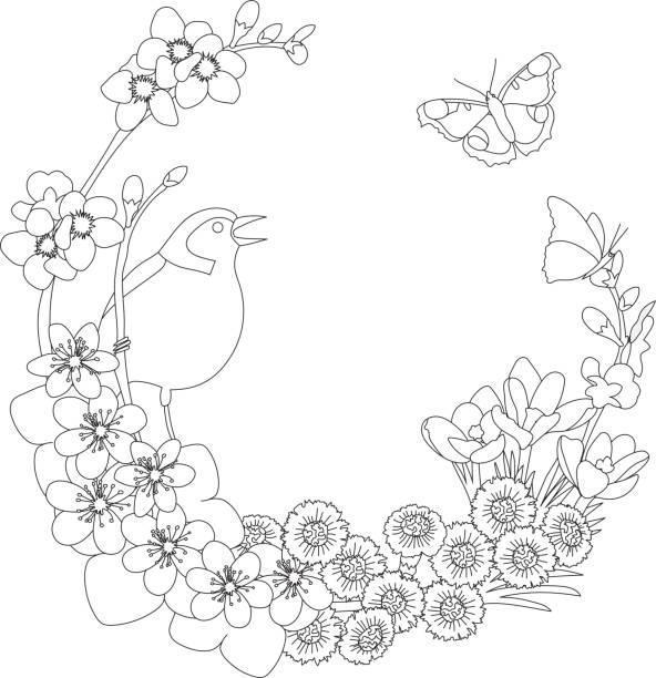 Spring floral elegant wreath coloring page vector art illustration