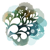 Vector of spring floral frame with watercolor background. EPS Ai 10 file format.