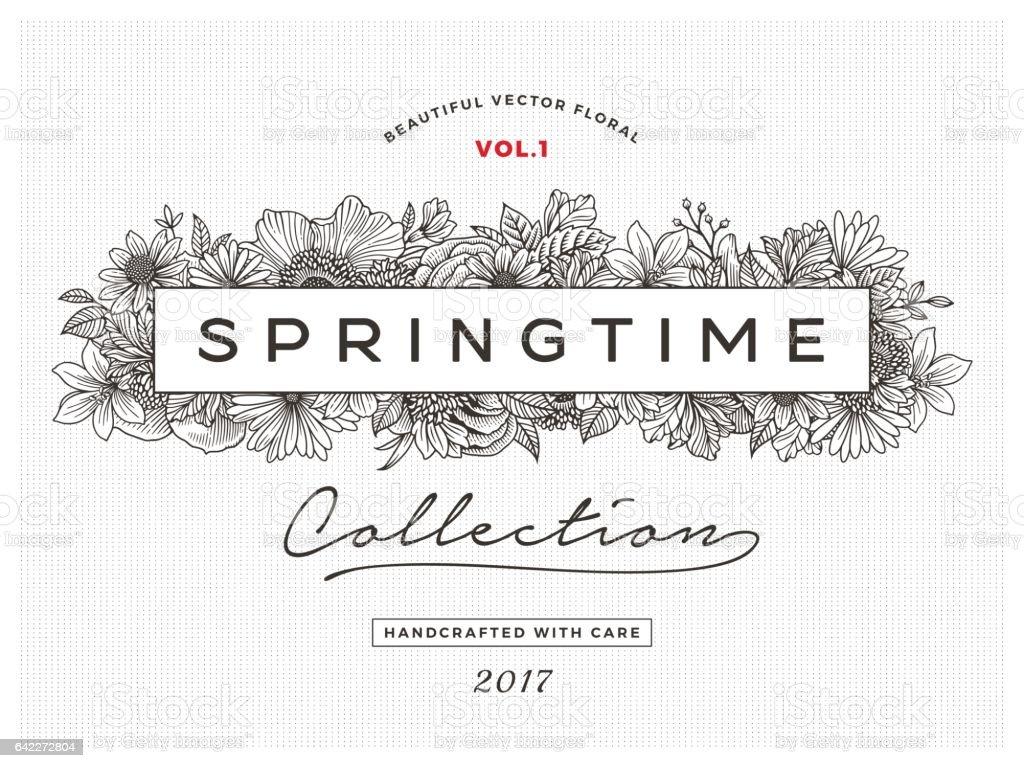Spring Floral Frame vector art illustration