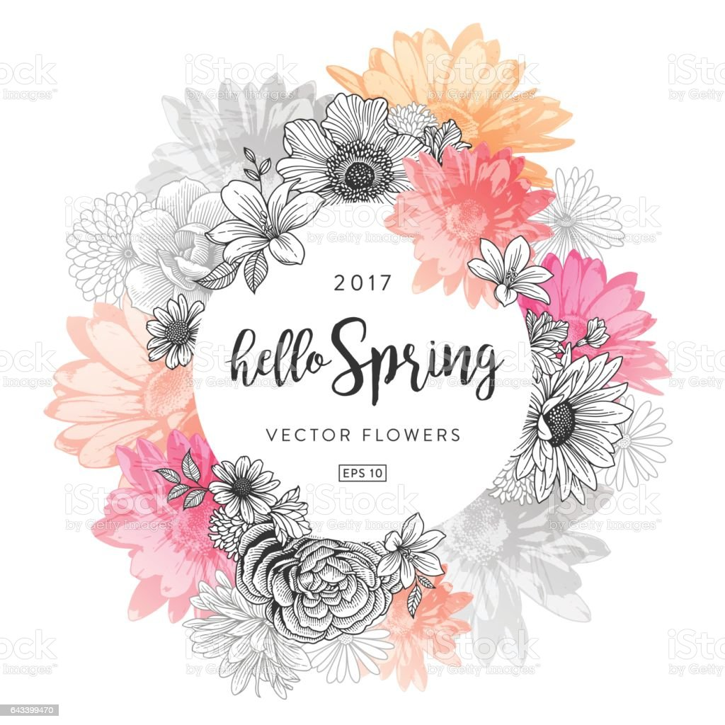 Quadro Floral primavera - ilustração de arte em vetor