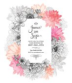 Contemporary floral frame graphic design. Watercolor and line art illustration.
