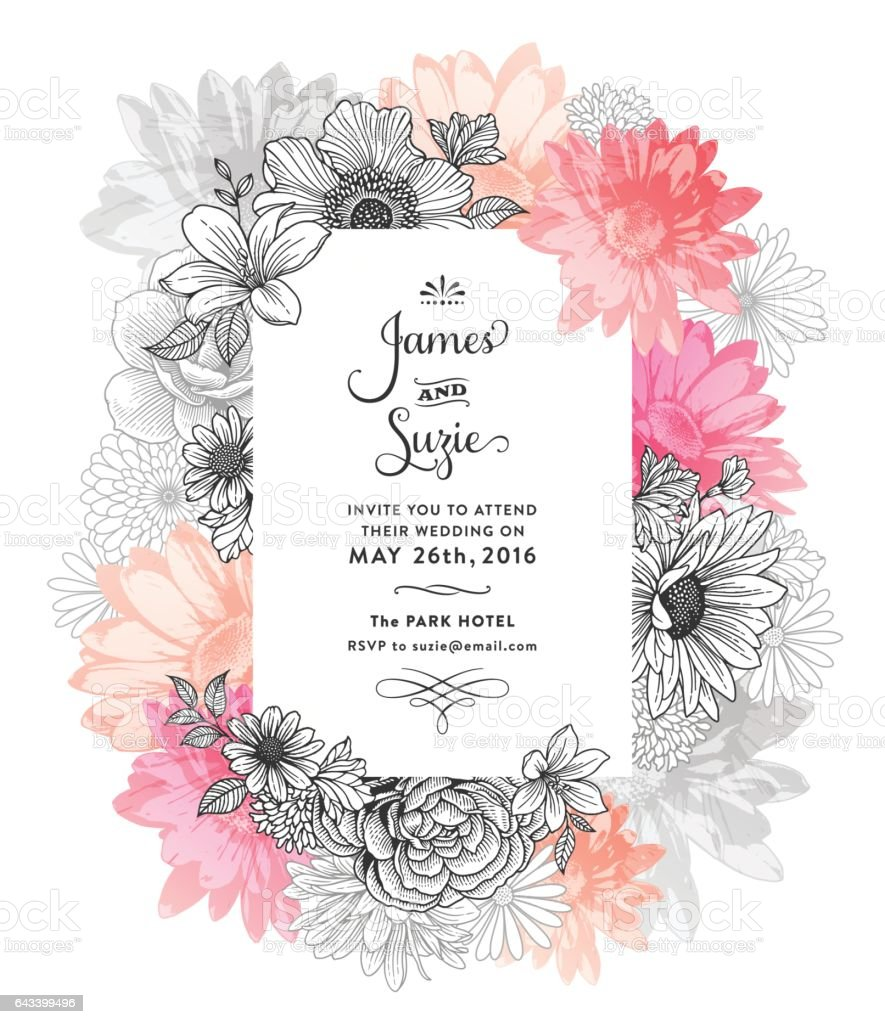Spring Floral Frame vector art illustration
