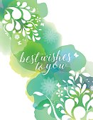 Vector of watercolor background texture with white floral Silhouettes