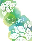 Vector of watercolor background texture with white floral Silhouettes. EPS Ai 10 file format.