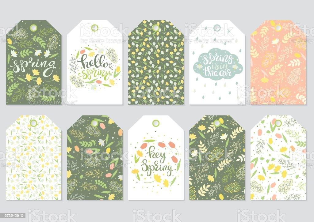 Spring floral gift tags vector
