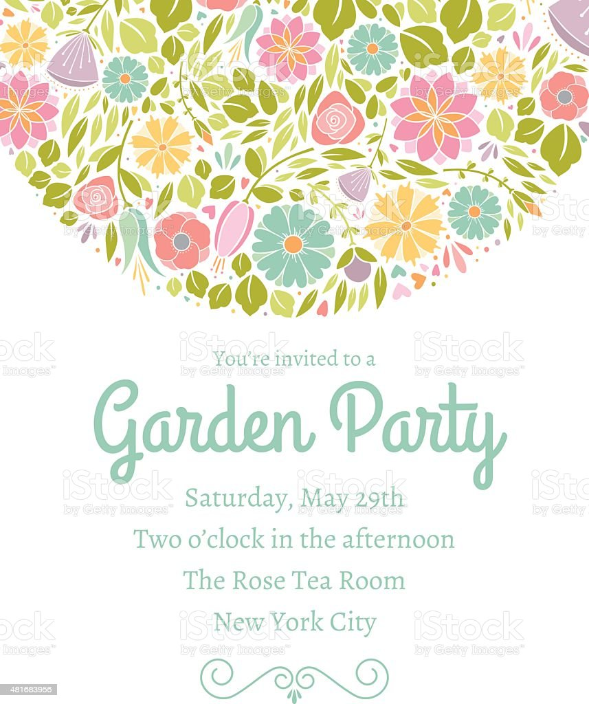 Spring Floral Invitation Three royalty-free spring floral invitation three stock vector art & more images of 2015