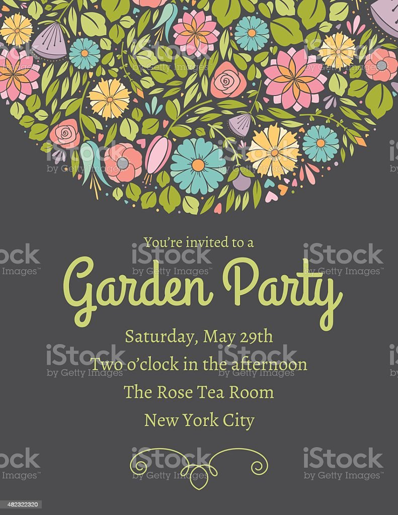 Spring Floral Invitation Two royalty-free spring floral invitation two stock vector art & more images of 2015