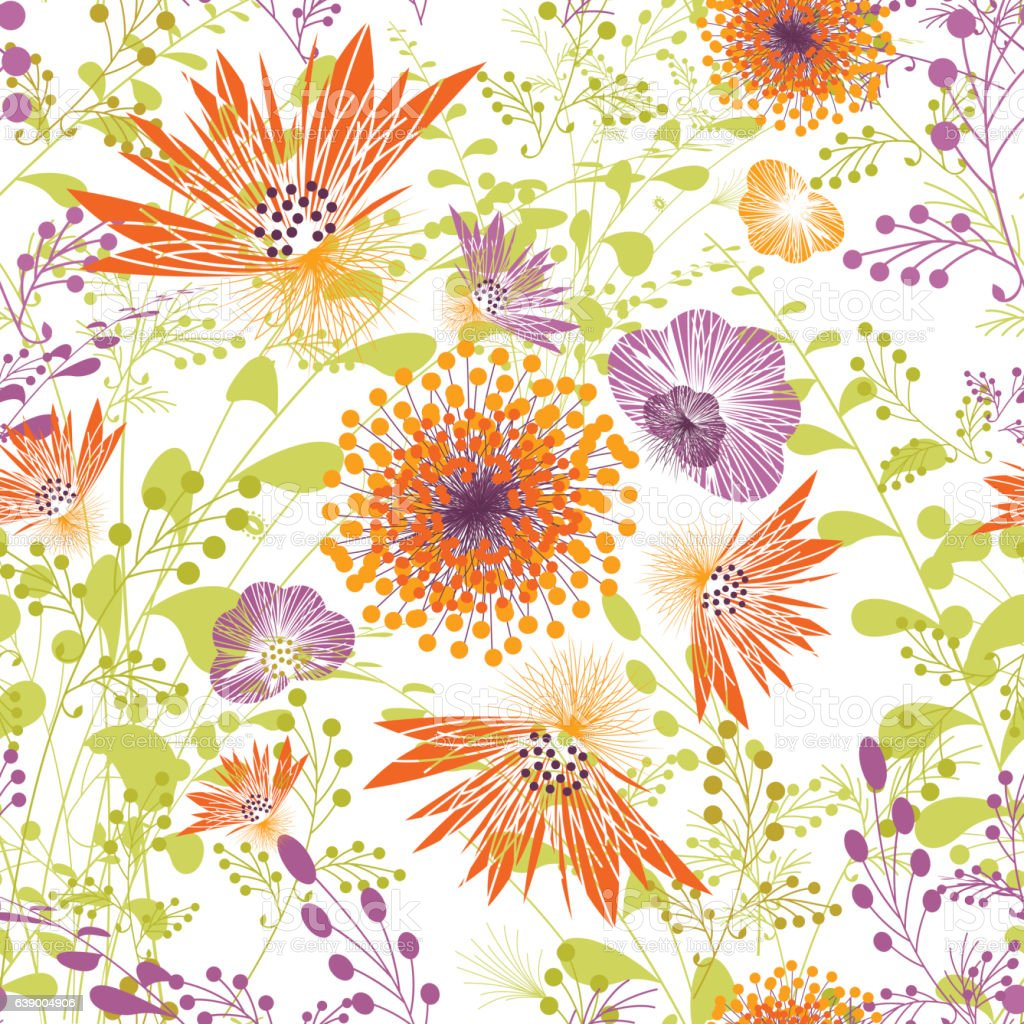 Spring Floral Seamless Pattern Wallpaper Plant Garden Stock Vector ...