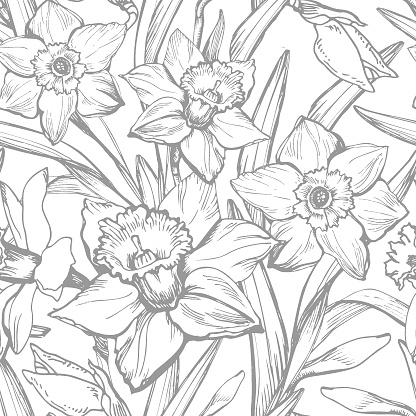 Spring floral seamless pattern with outline silhouettes of flowers and leaves.