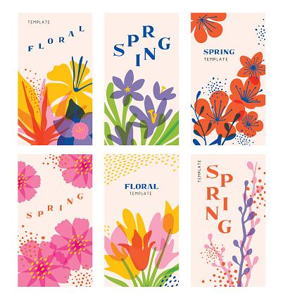 Spring floral templates set
