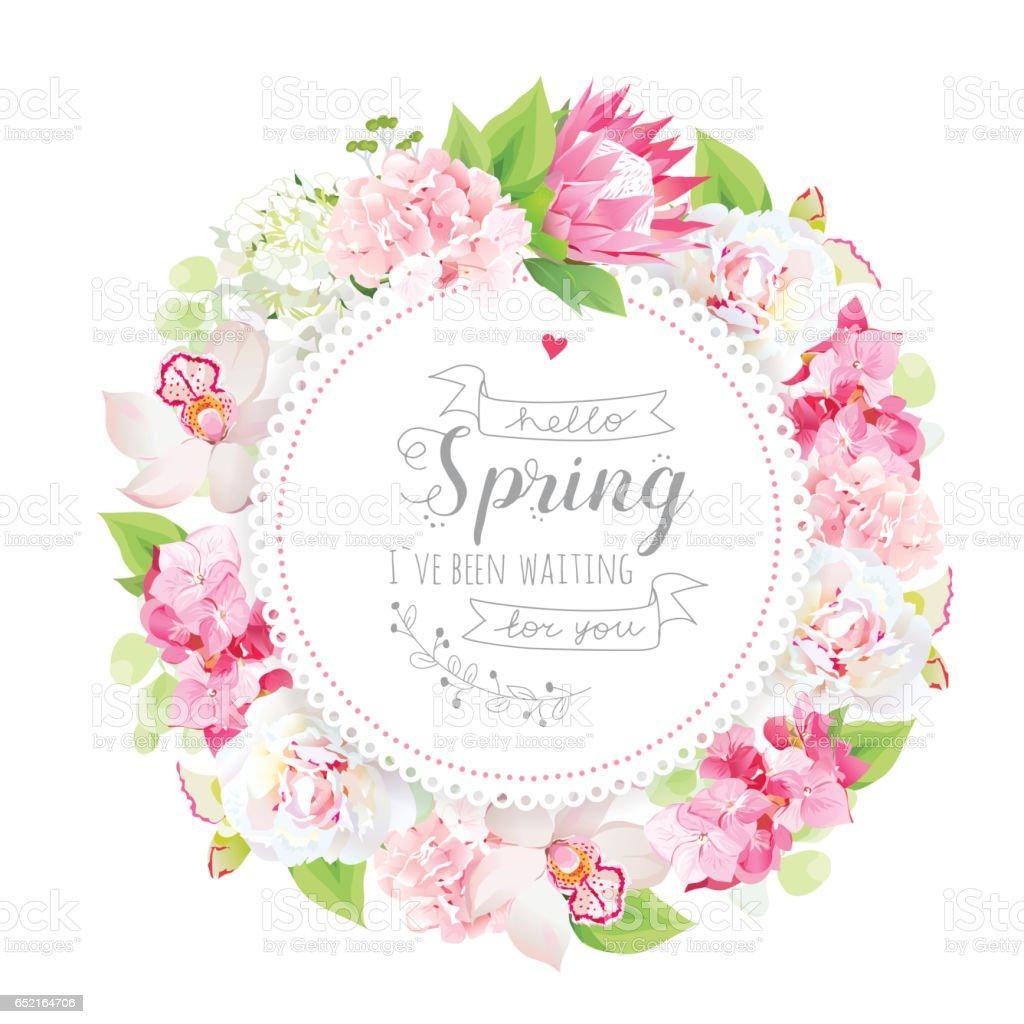 Frühling Blumen Vektor Runde Karte Mit Blumen Und Pflanzen Stock ...