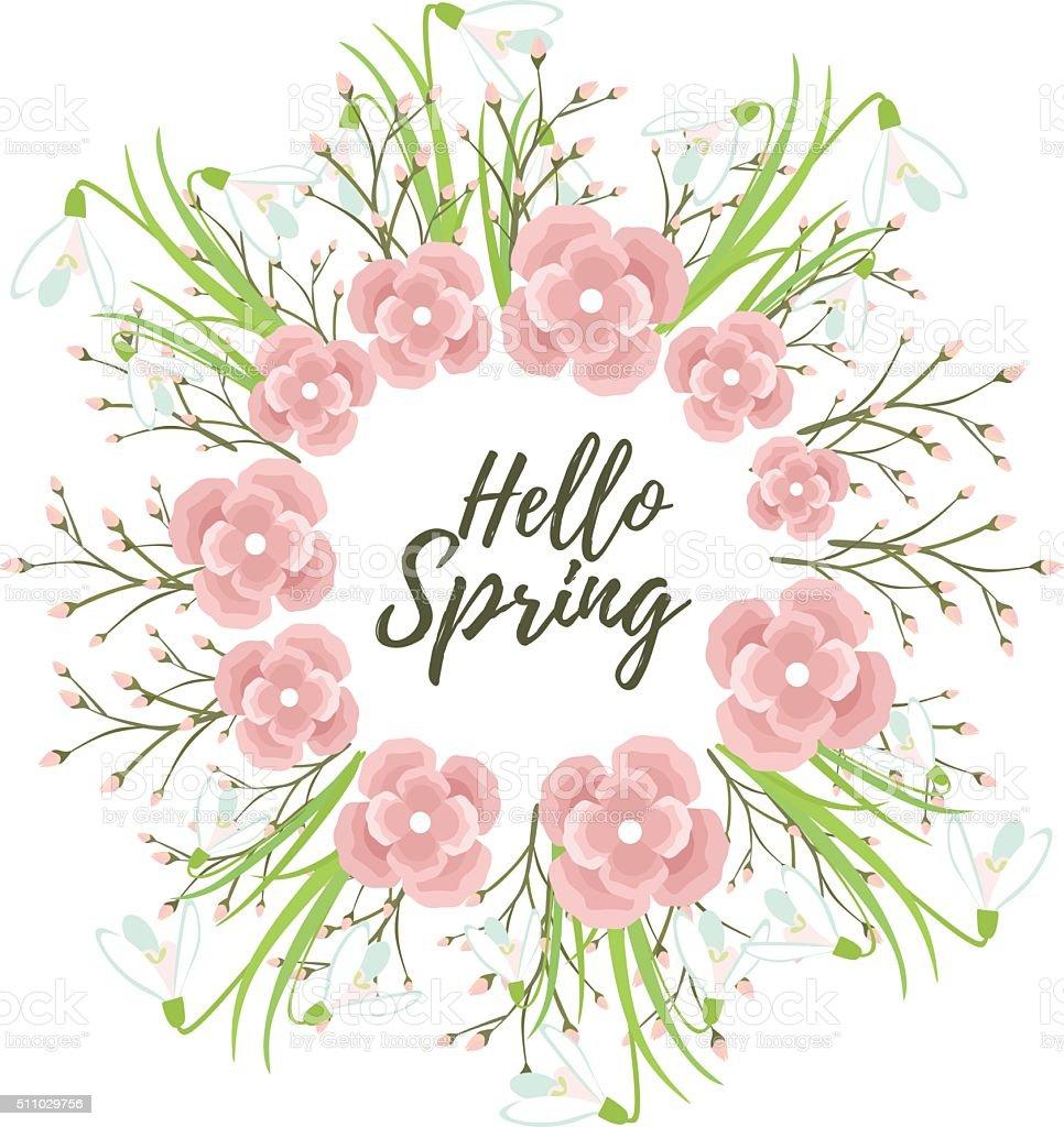 Primavera flores de grinalda vetor - ilustração de arte em vetor