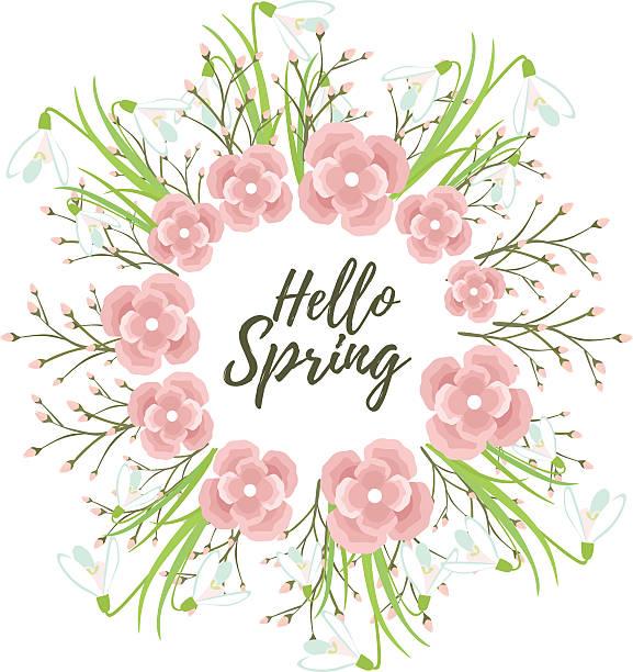 ilustrações, clipart, desenhos animados e ícones de primavera flores de grinalda vetor - fontes e tipografia
