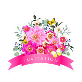 Spring floral wedding invitation with butterflies