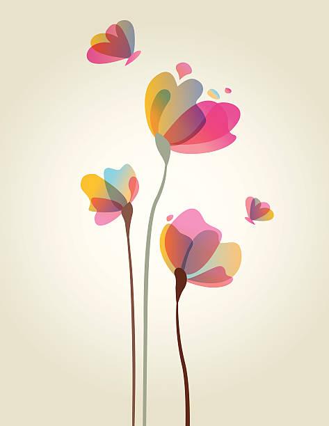 bildbanksillustrationer, clip art samt tecknat material och ikoner med spring flower artwork - abstract silhouette art