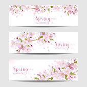 Spring Flower Banner Set - Cherry Blossom Tree