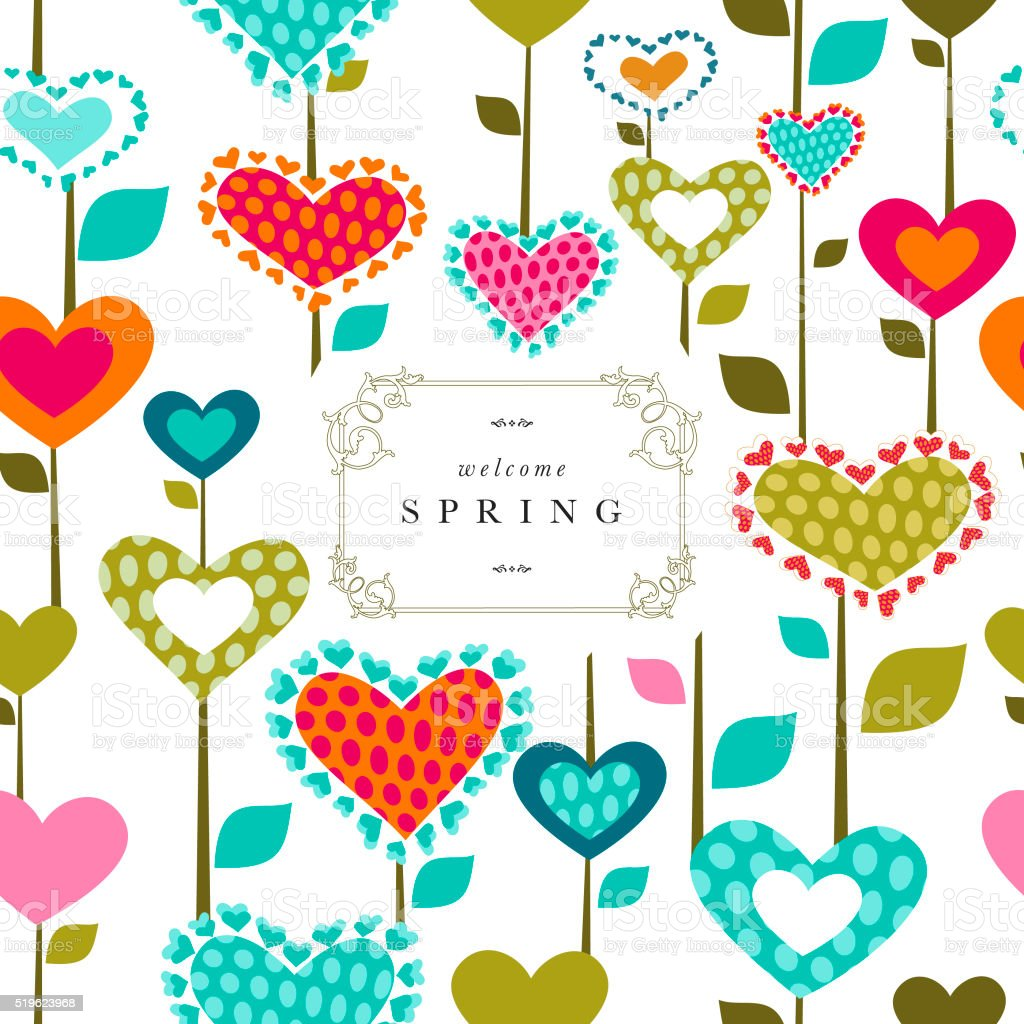 Spring flower banner text heart pattern love series vector art illustration