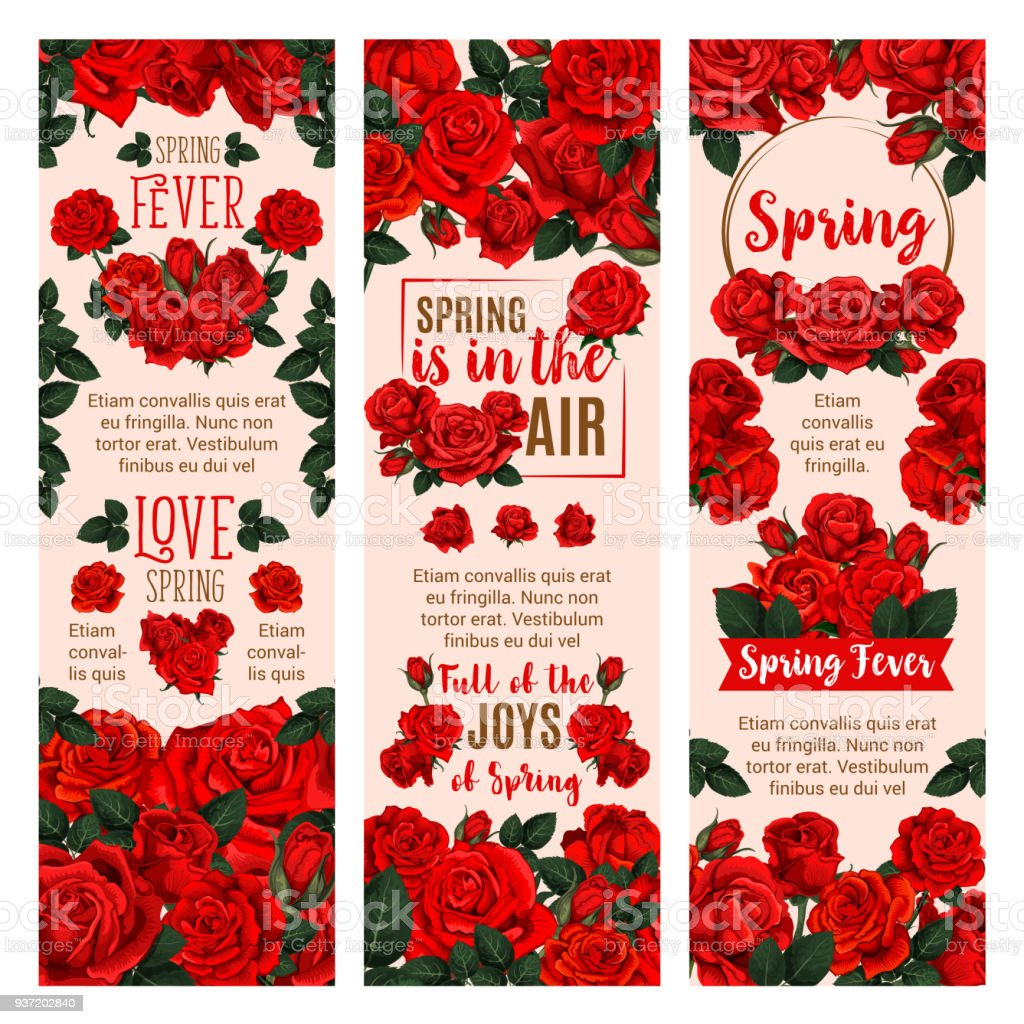 Spring Flower Banner With Red Rose Floral Wreath Stock Vector Art