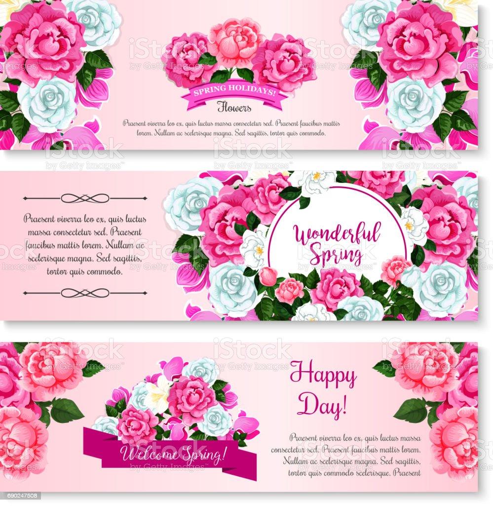 Spring Flower Bouquet For Greeting Banner Template Stock Vektor Art