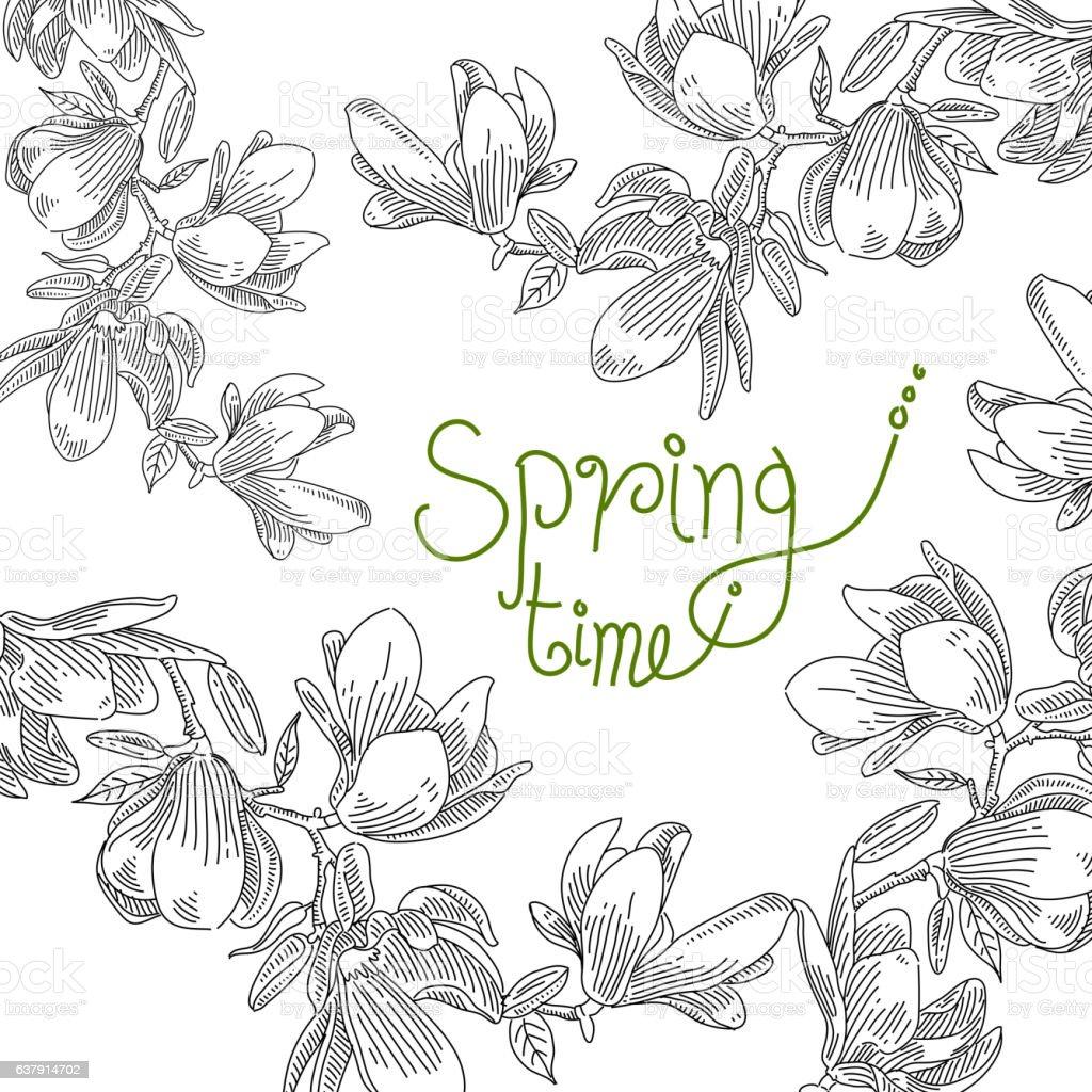 Spring Flower Drawing Stock Vektor Art Und Mehr Bilder Von Baumblute