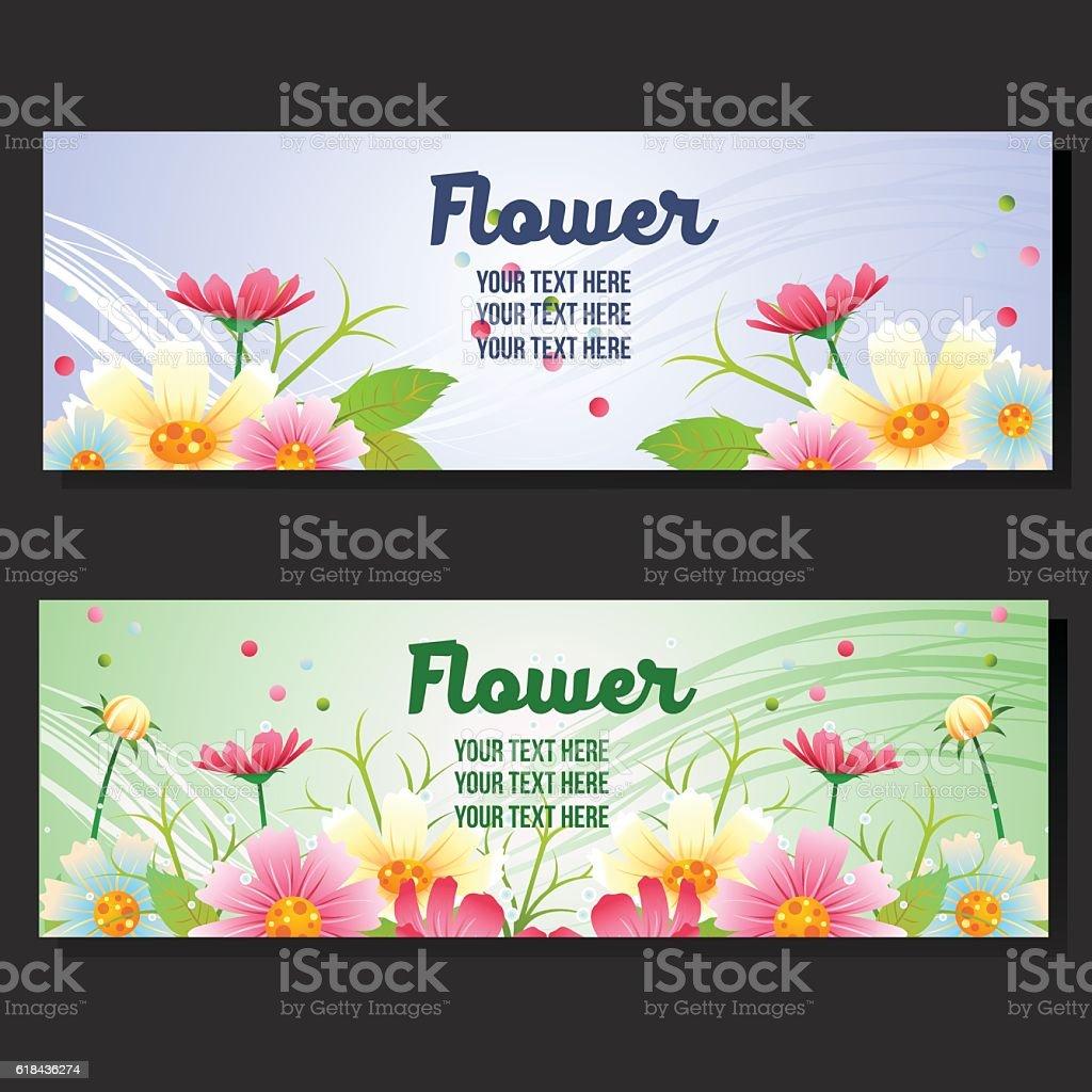 Spring Flower Garden Horizontal Banner Stock Vektor Art Und Mehr