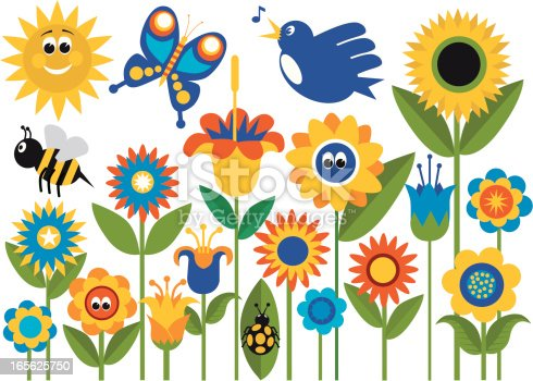 A Stylized Spring Flower Garden with Bird,Butterfly,Bee, Bug and a Sun. All art on layers and grouped and easily edited. Make your own Garden.