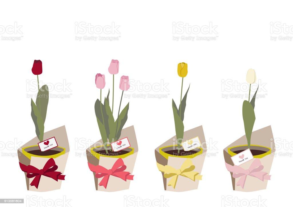 春のフラワー ギフト クリップ アートチューリップのイラストです春の花