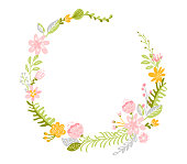 Spring flower herbs wreath. Flat abstract Vector garden frame, woman day romantic holiday, wedding invitation card decoration element summer floral Illustration isolated white background.